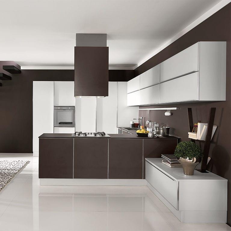 Contemporary kitchen / wood veneer / island / round - VOLARE - ARAN ...