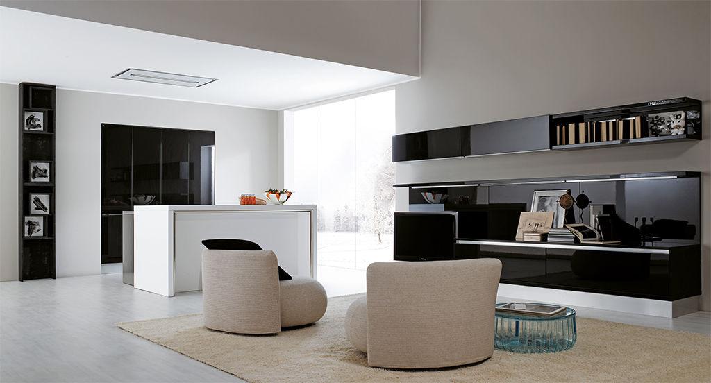 Contemporary TV wall unit / lacquered glass - VOLARE - ARAN Cucine