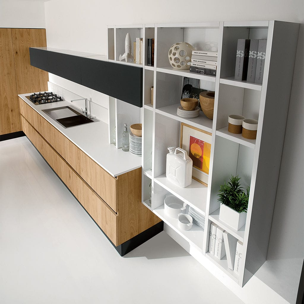 Wall-mounted shelf / contemporary / lacquered wood / kitchen ...