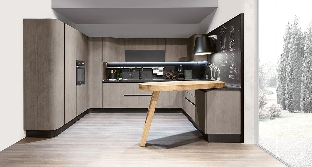 Contemporary Kitchen Aluminum Laminate Island PENELOPE - Cuisine aran