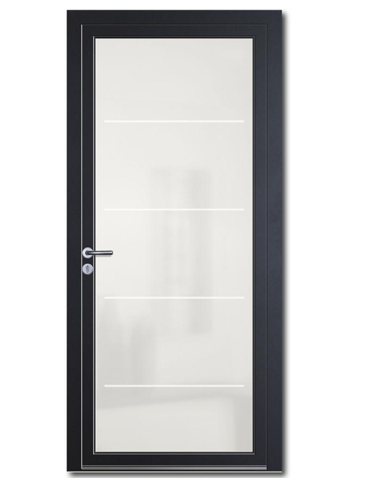 Entry door / swing / glass / aluminum - BHAUTIKA
