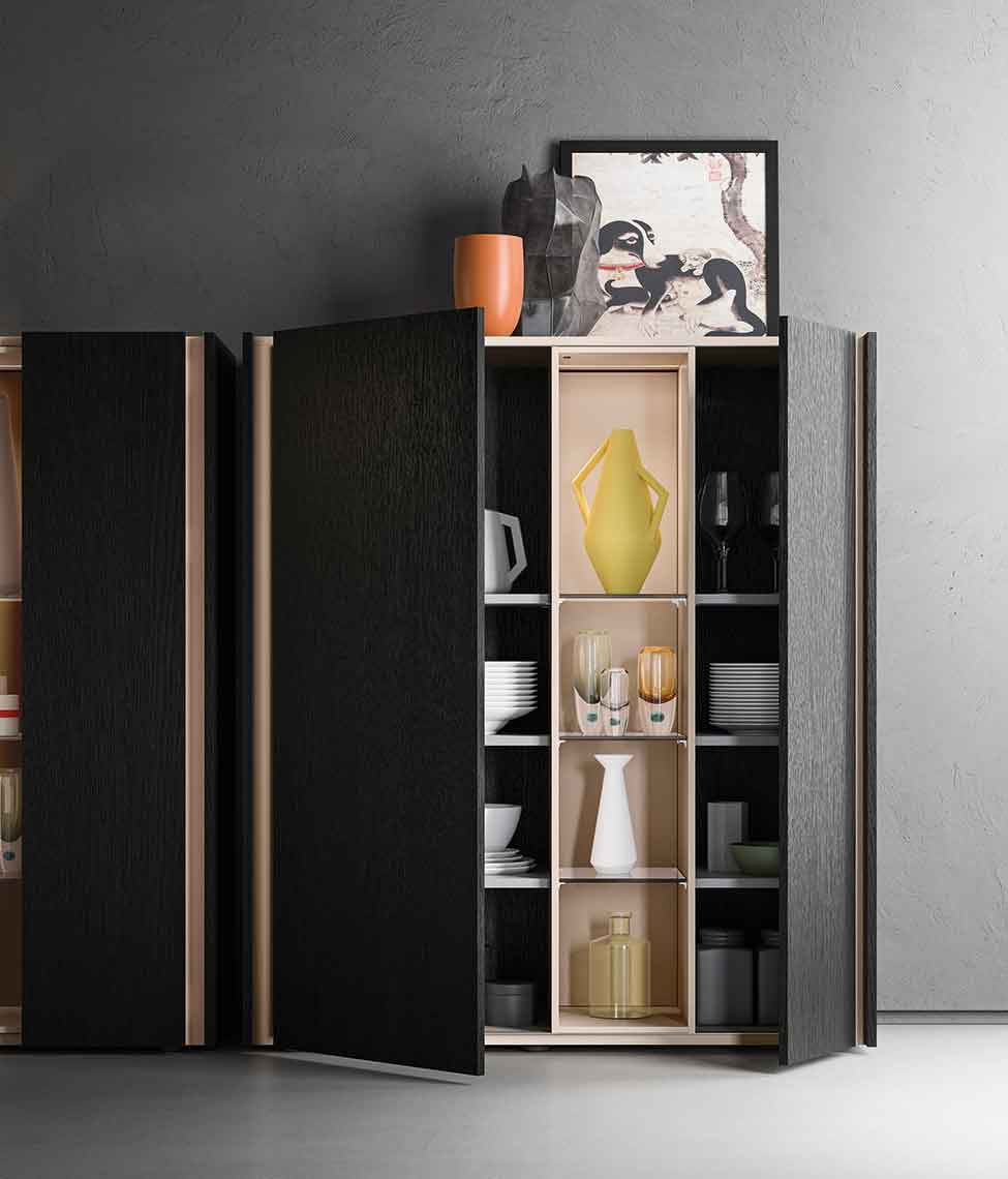 High Sideboard Contemporary Lacquered Wood Da Do By R D A