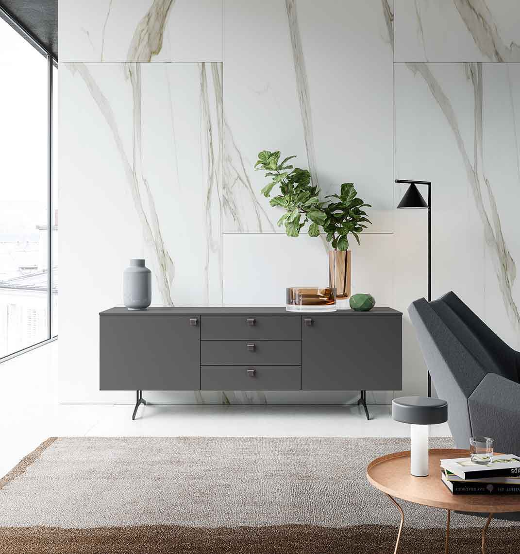 Contemporary Sideboard Lacquered Wood Metal Nobel By R D A