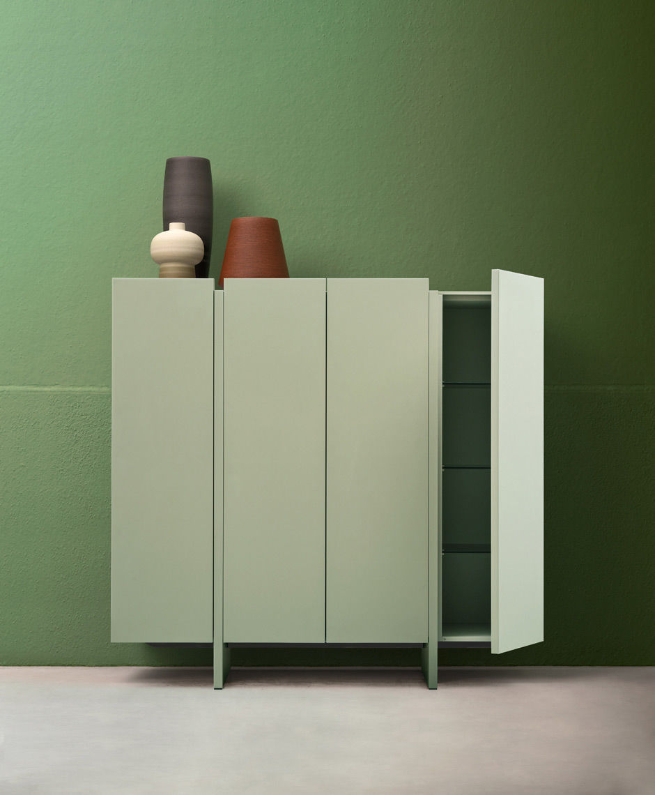 High Sideboard Contemporary Lacquered Wood Recta By Marelli