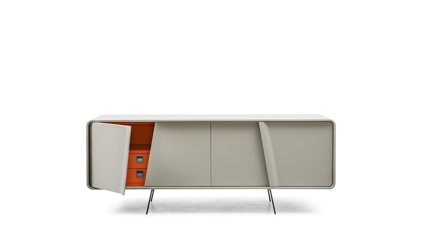 Contemporary Sideboard Lacquered Wood Painted Metal White