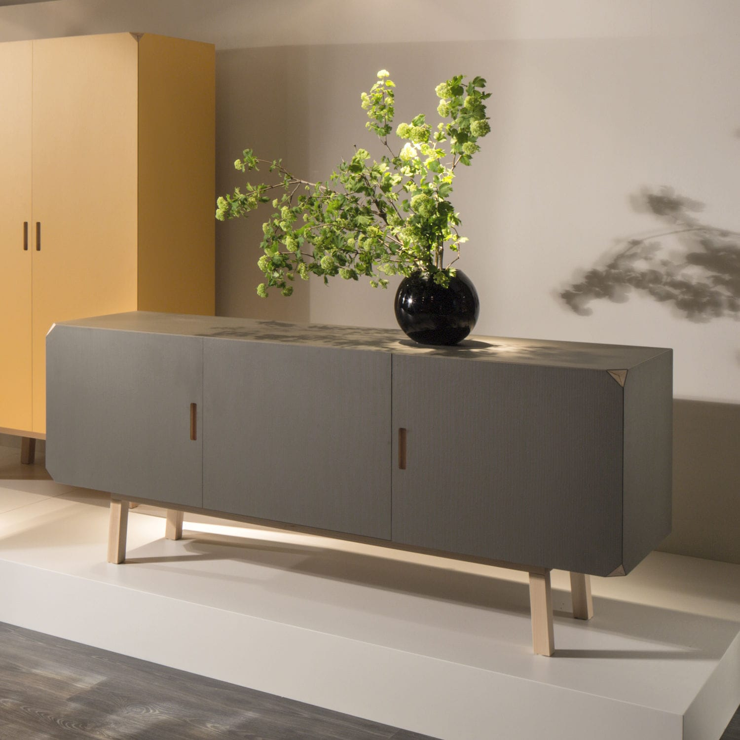Contemporary Sideboard Beech Gray Cartalegno By Giulio