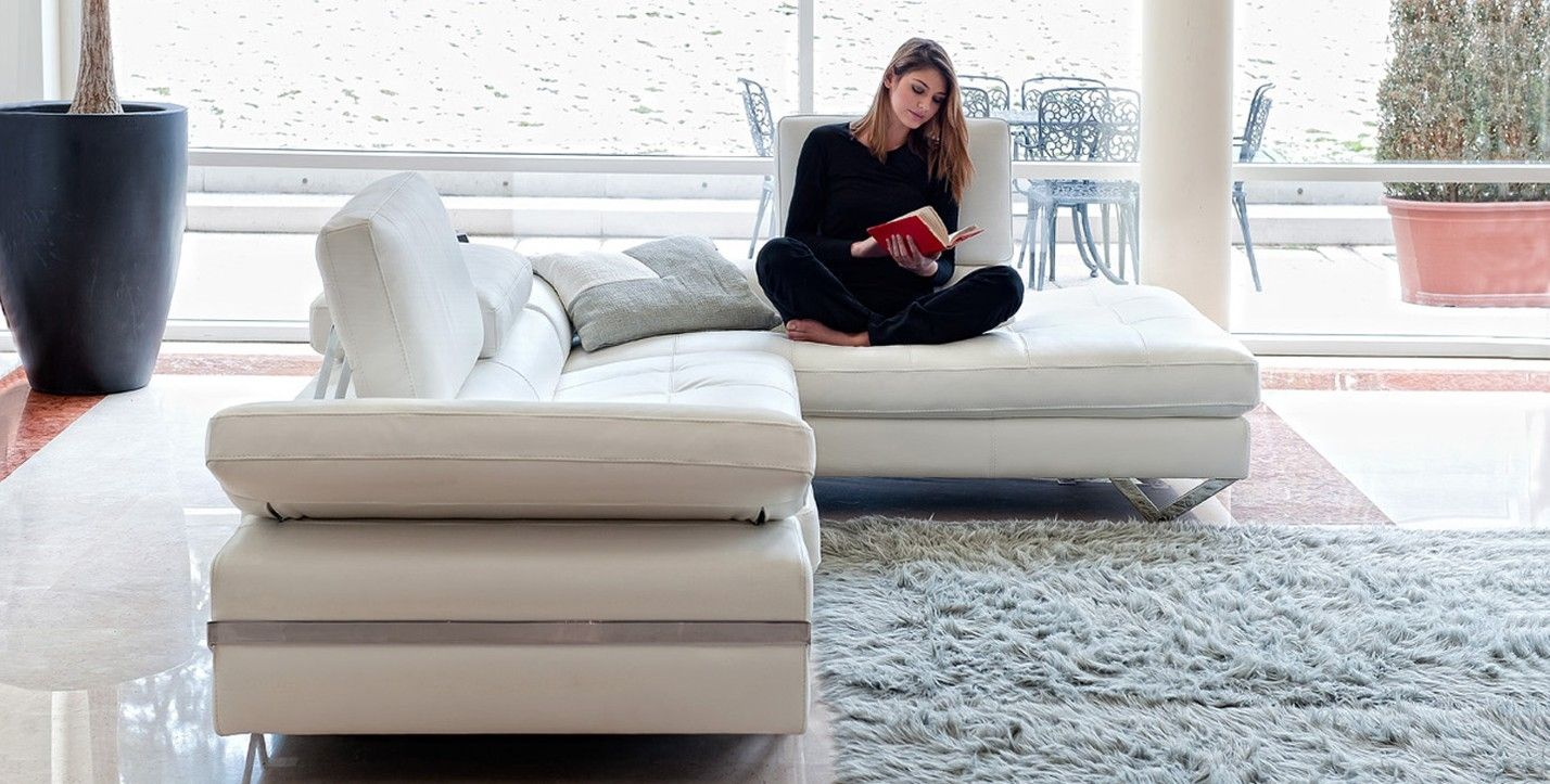 Modular sofa / contemporary / leather / with fold-down backrests ...