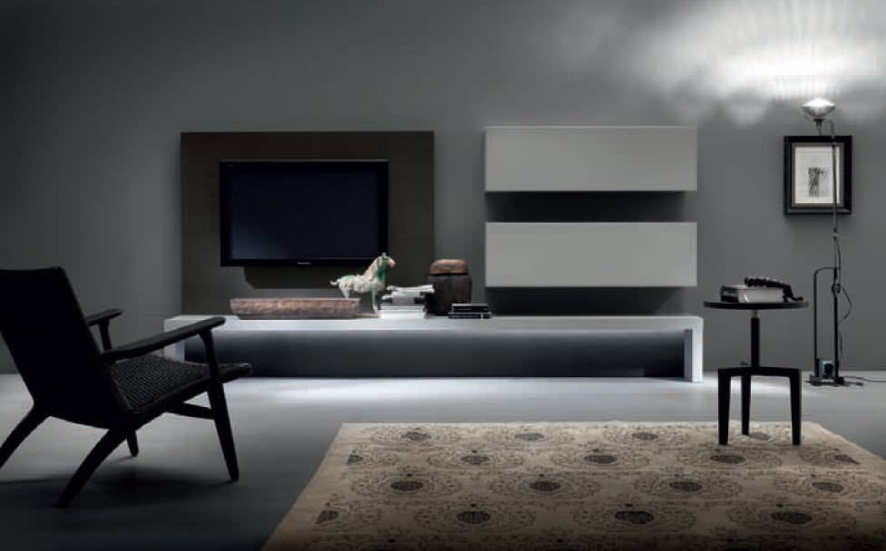 Contemporary TV wall unit / wooden / lacquered wood - LOUNGE ...