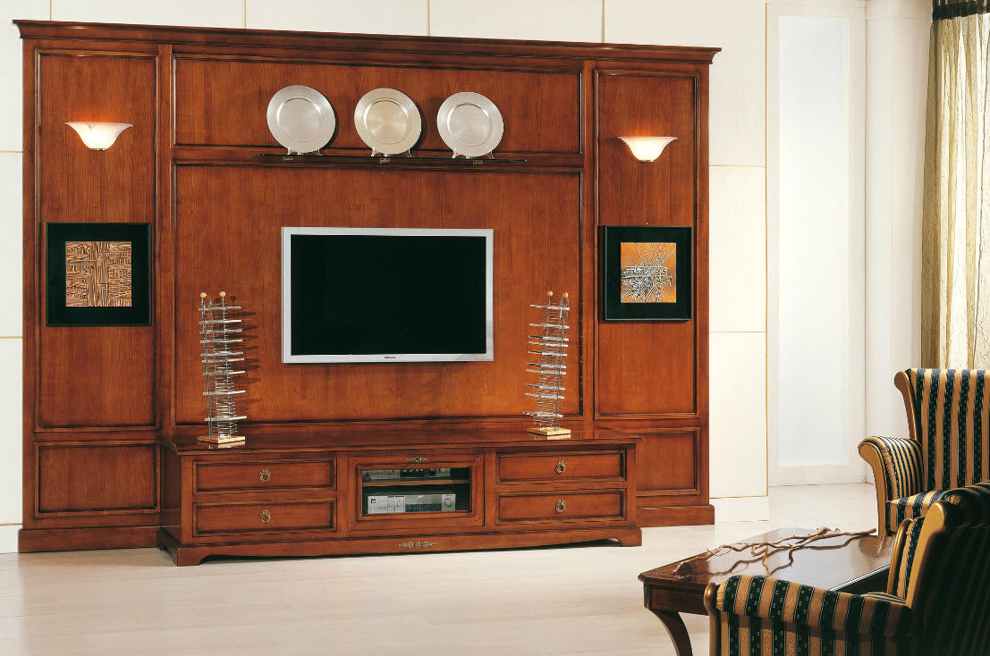 Wood Wall Units Traditional Tv Wall Unit  Wooden  Art2105  Arte Antiqua Di
