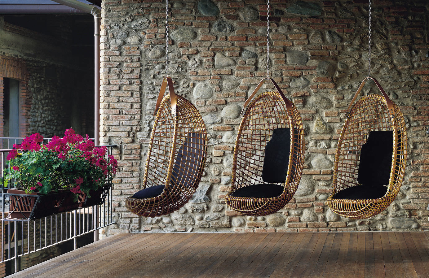 Original Design Hanging Chair / Rattan / Outdoor   EUREKA By Giovanni  Travasa
