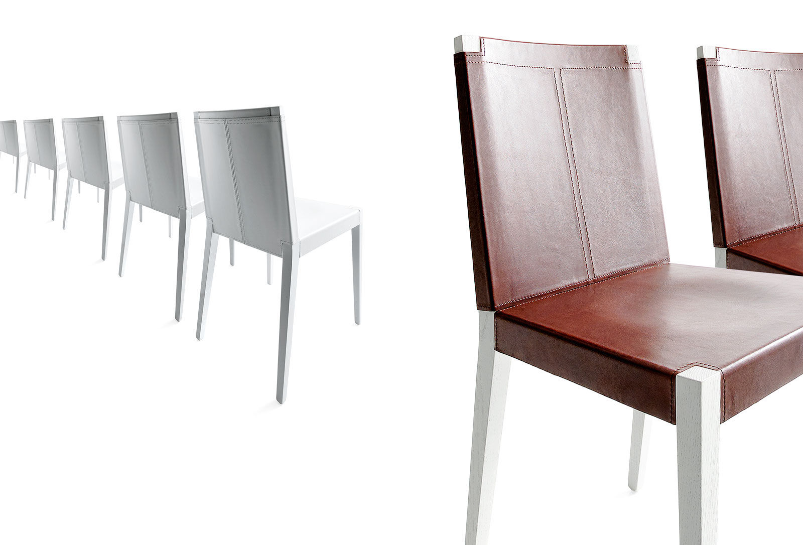 Contemporary Chair Solid Wood Leather Contract Inner By Enzo Berti