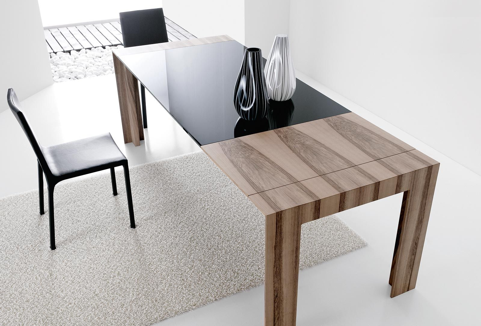 contemporary table glass oak walnut plano by gino carollo