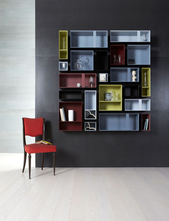 Wall-mounted bookcase / contemporary / lacquered wood - MULTIBOX by ...