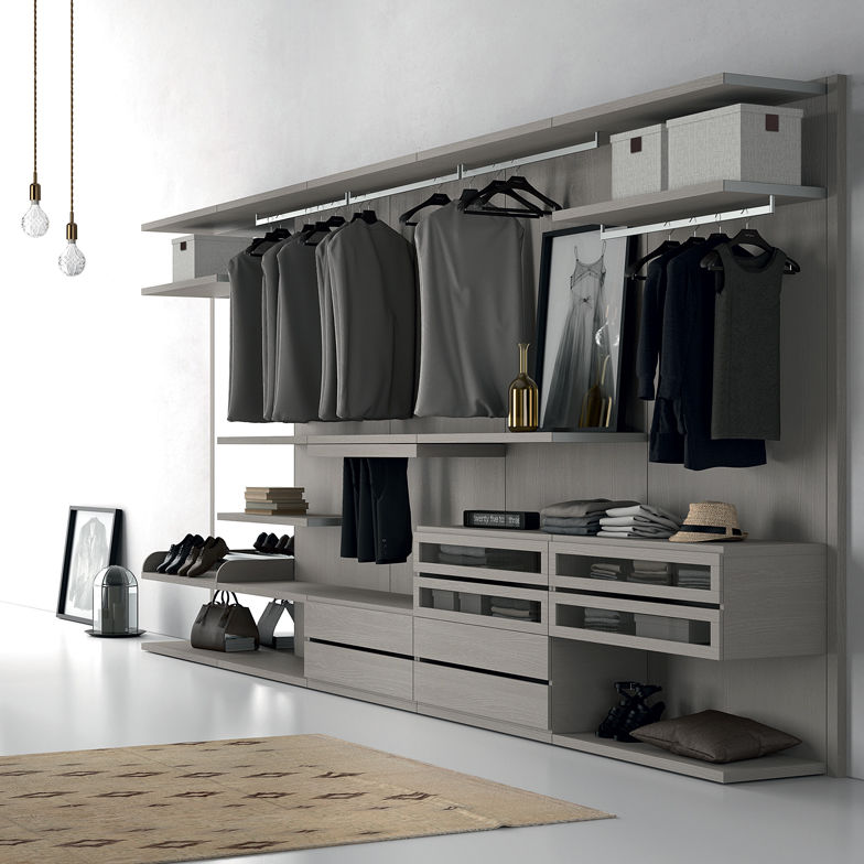 Wall-mounted walk-in wardrobe / corner / contemporary / glass ...