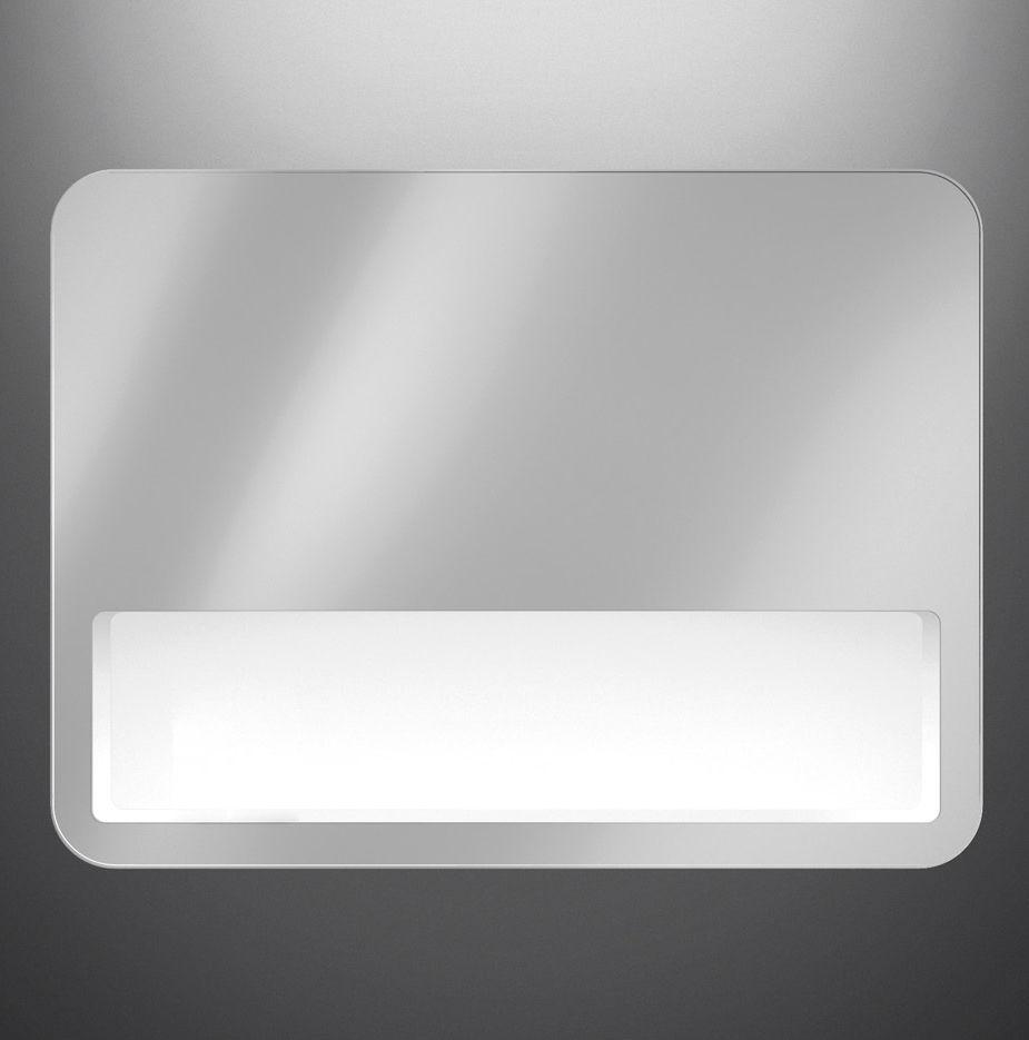 Wall-mounted bathroom mirror / LED-illuminated / with shelf ...