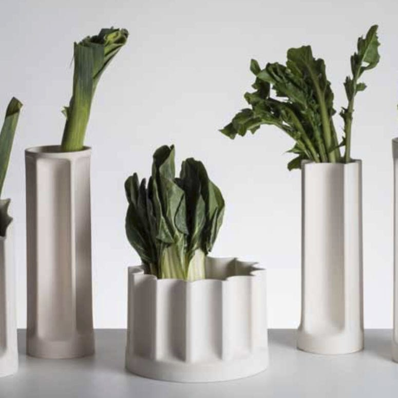 Contemporary Vase Ceramic Bambu By Enzo Mari Danese