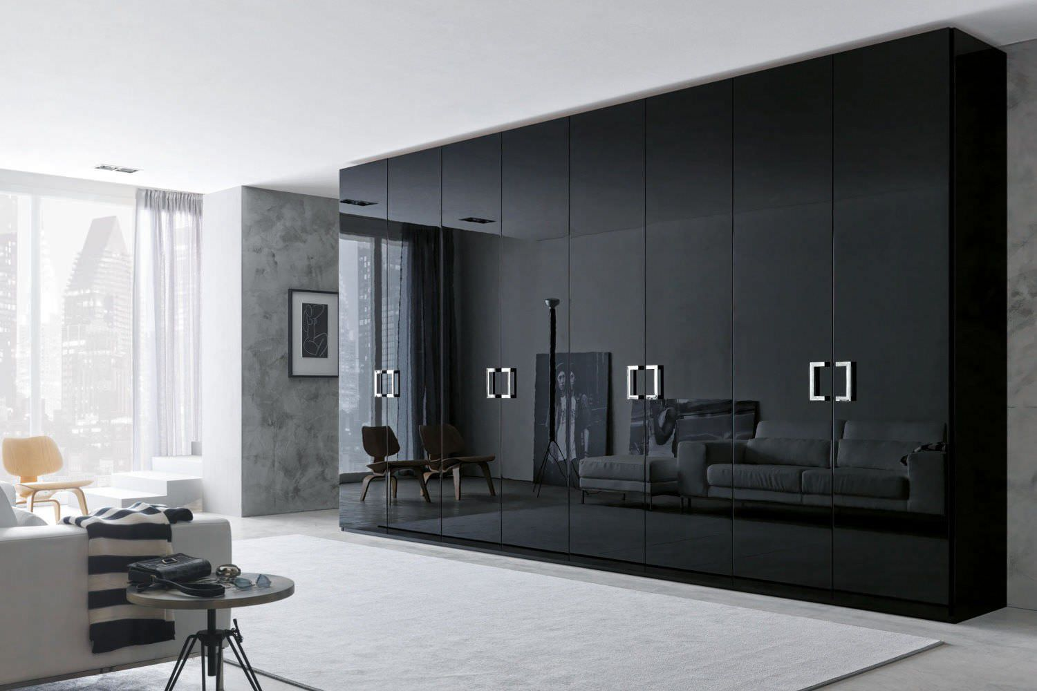 contemporary wardrobe  wooden  glossy lacquered wood  with  - contemporary wardrobe  wooden  glossy lacquered wood  with hinged door smooth