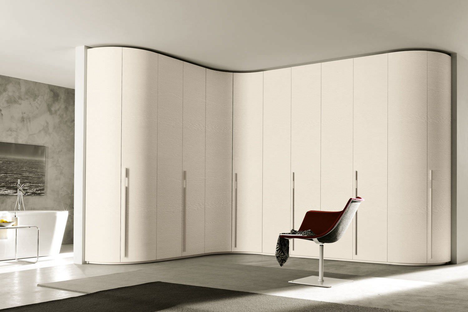 Corner wardrobe / contemporary / wooden / glossy lacquered wood ...