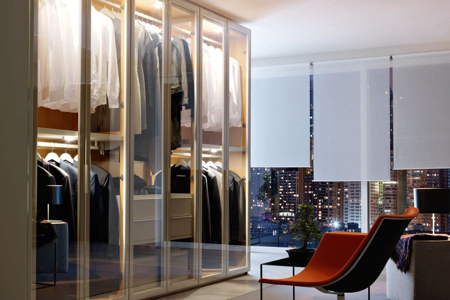 Contemporary Wardrobe Glass Aluminum With Swing Doors Reflex