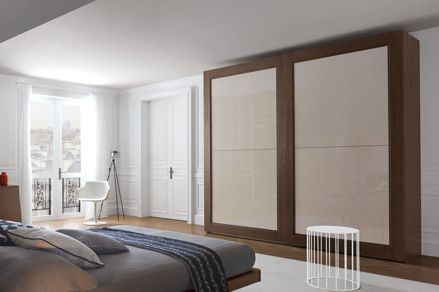 Contemporary Wardrobe Solid Wood Glass Lacquered Glass Ada