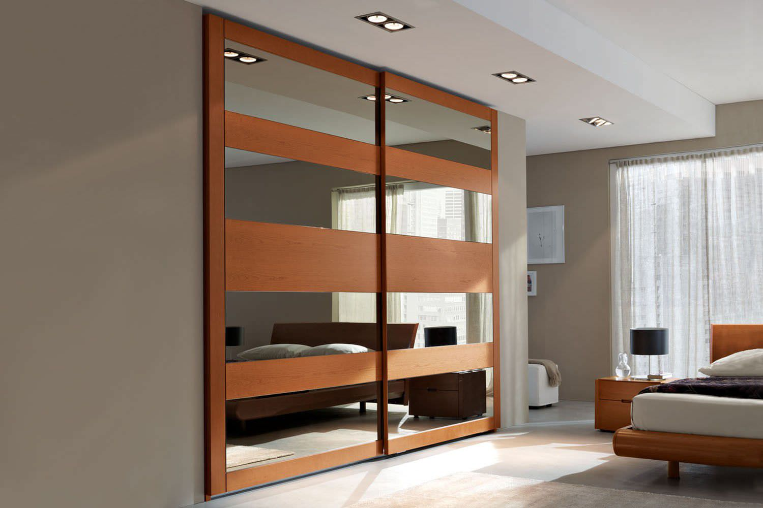 Contemporary Wardrobe Wooden Lacquered Wood With Sliding Door