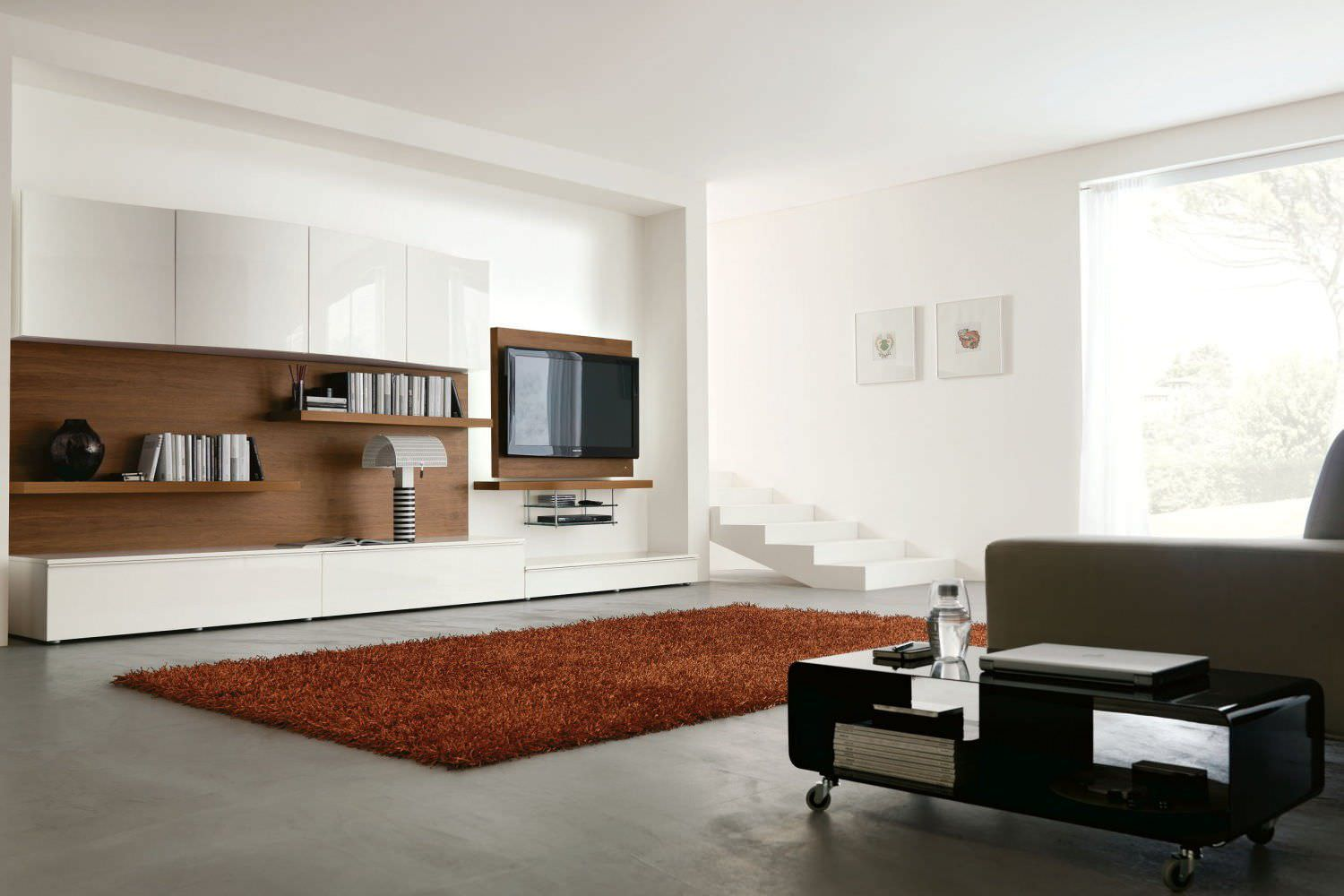 Contemporary TV Wall Unit Wooden Lacquered Wood