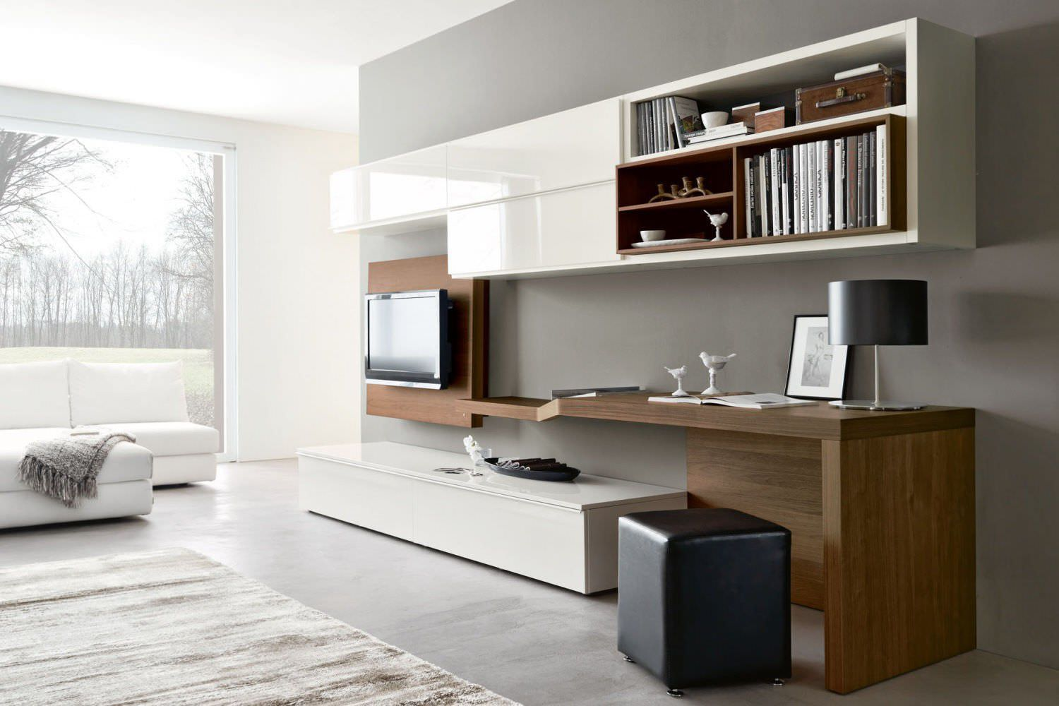 contemporary tv wall unit / wooden / lacquered wood - 528 - napol
