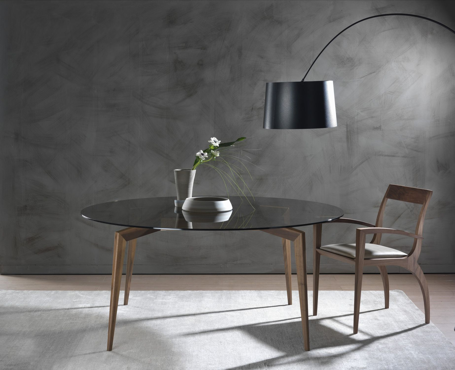 Contemporary dining table walnut ash tempered glass HOPE