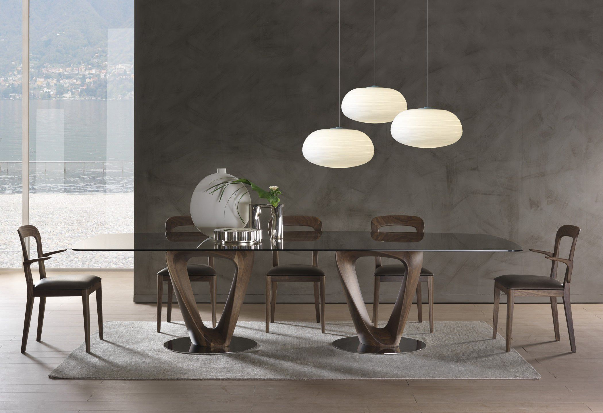 Contemporary dining table walnut tempered glass round
