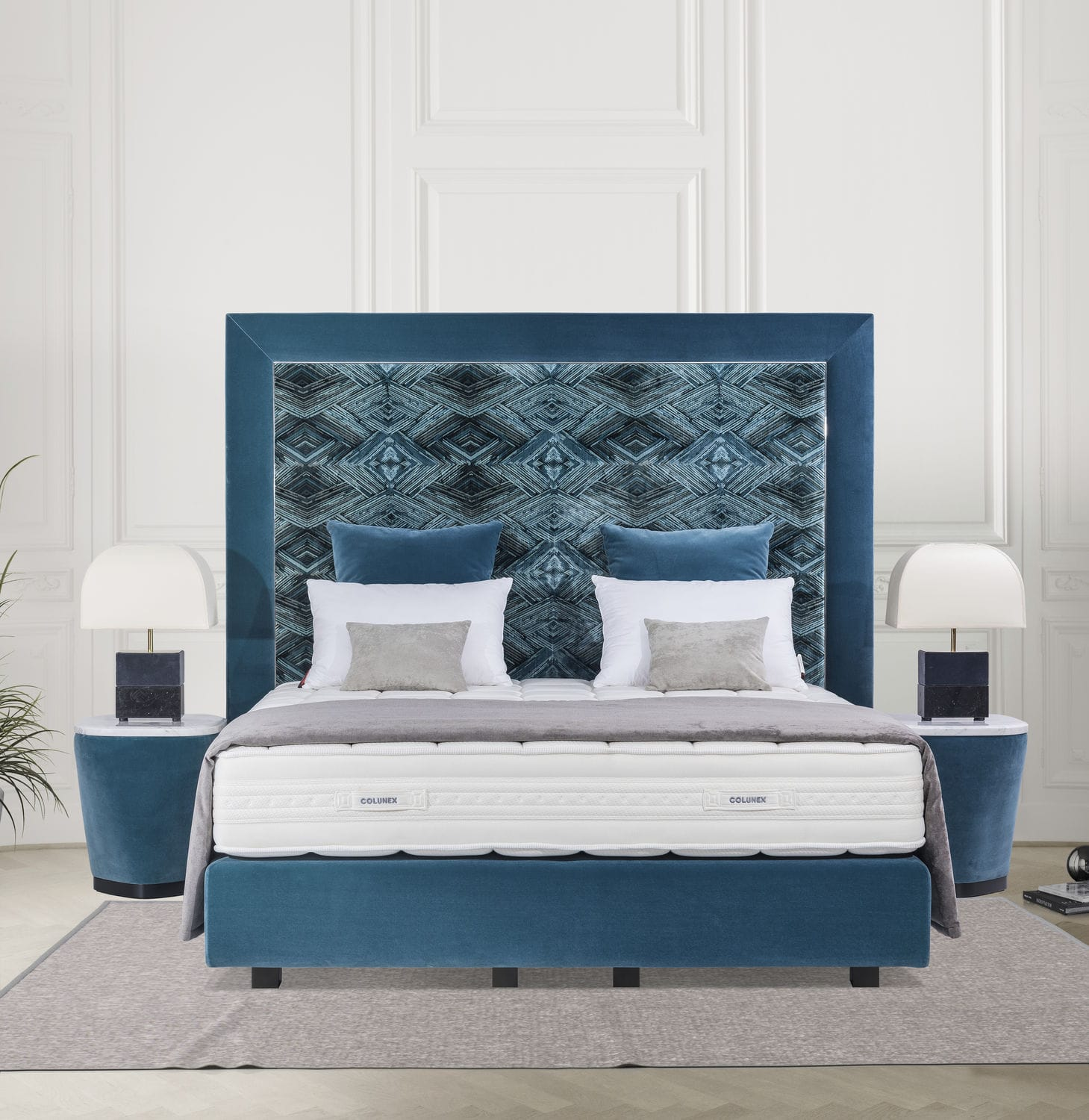 Double Bed Headboard / Contemporary / Fabric / Upholstered   ELITE Bed Base
