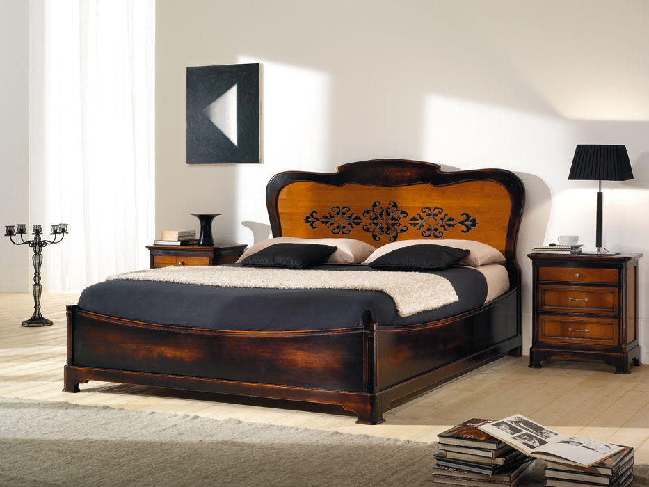 Double bed / traditional / with headboard / wooden - MATISSE ...
