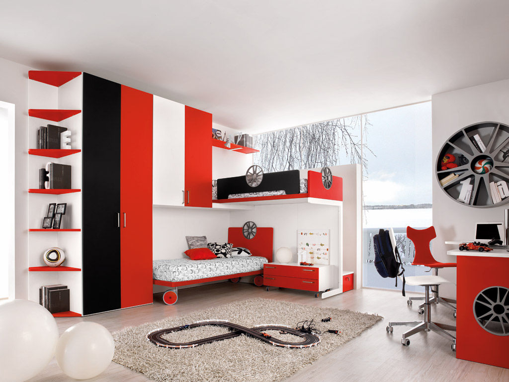 red and white bedroom furniture. unisex childrenu0027s bedroom furniture set red sport motori 3 faer ambienti and white l