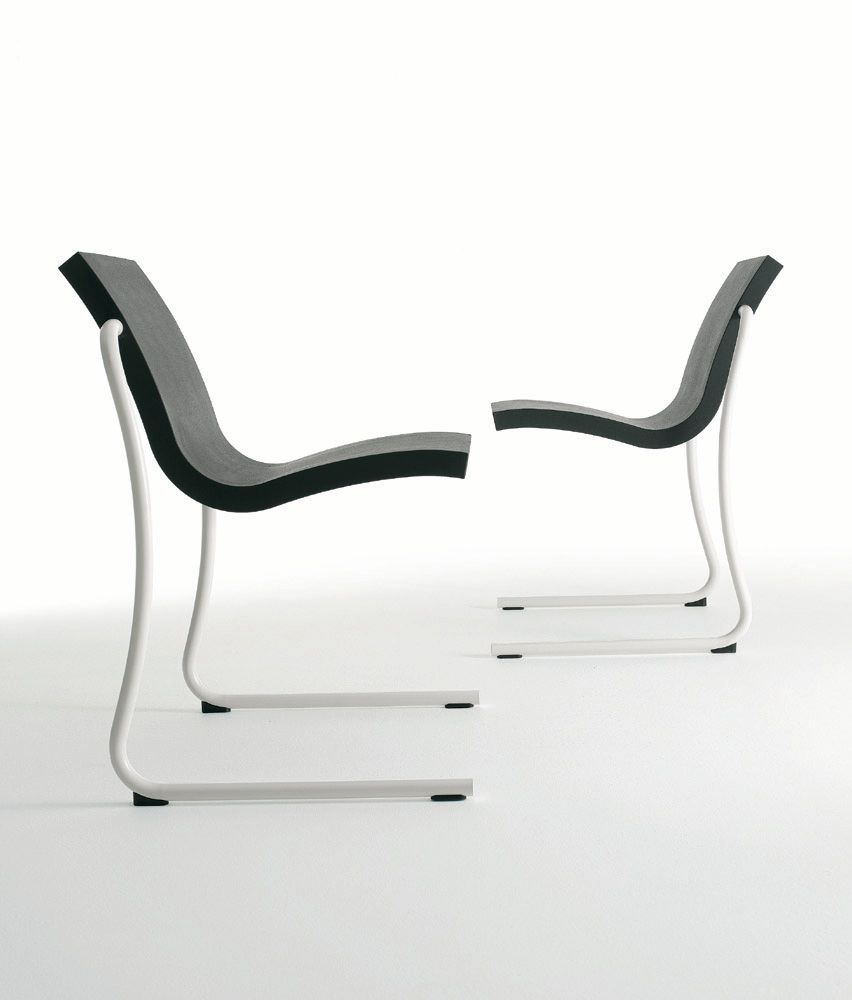 contemporary chair stackable cantilever painted steel magic