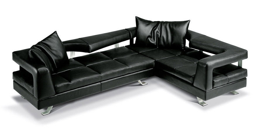 Corner Sofa / Contemporary / Leather / 5-Seater - Wave - Formenti