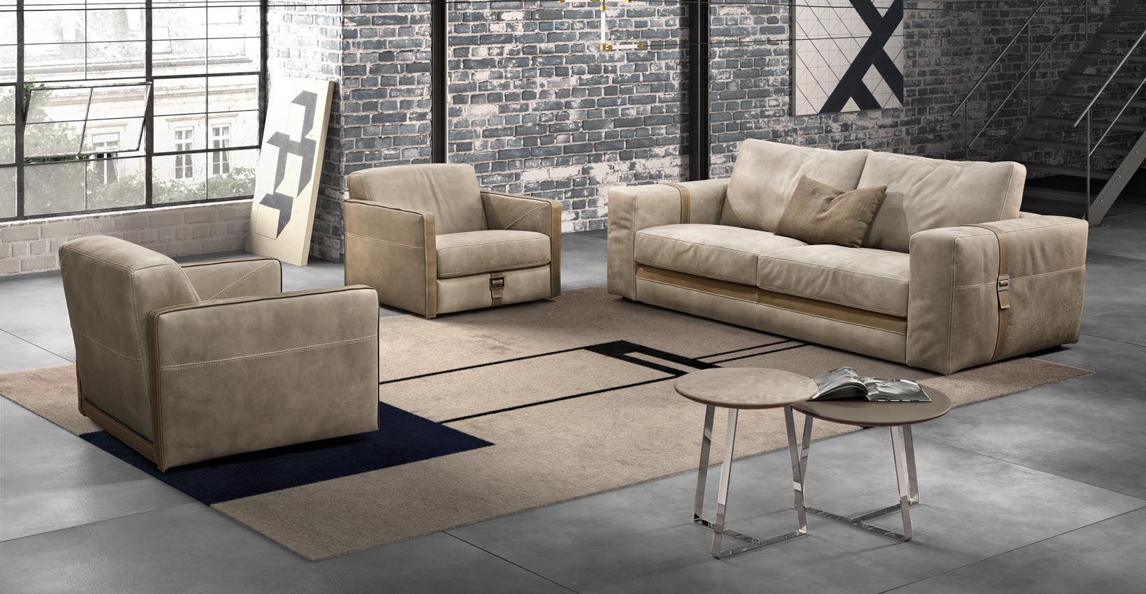 Contemporary Sofa Leather 2 Person Beige