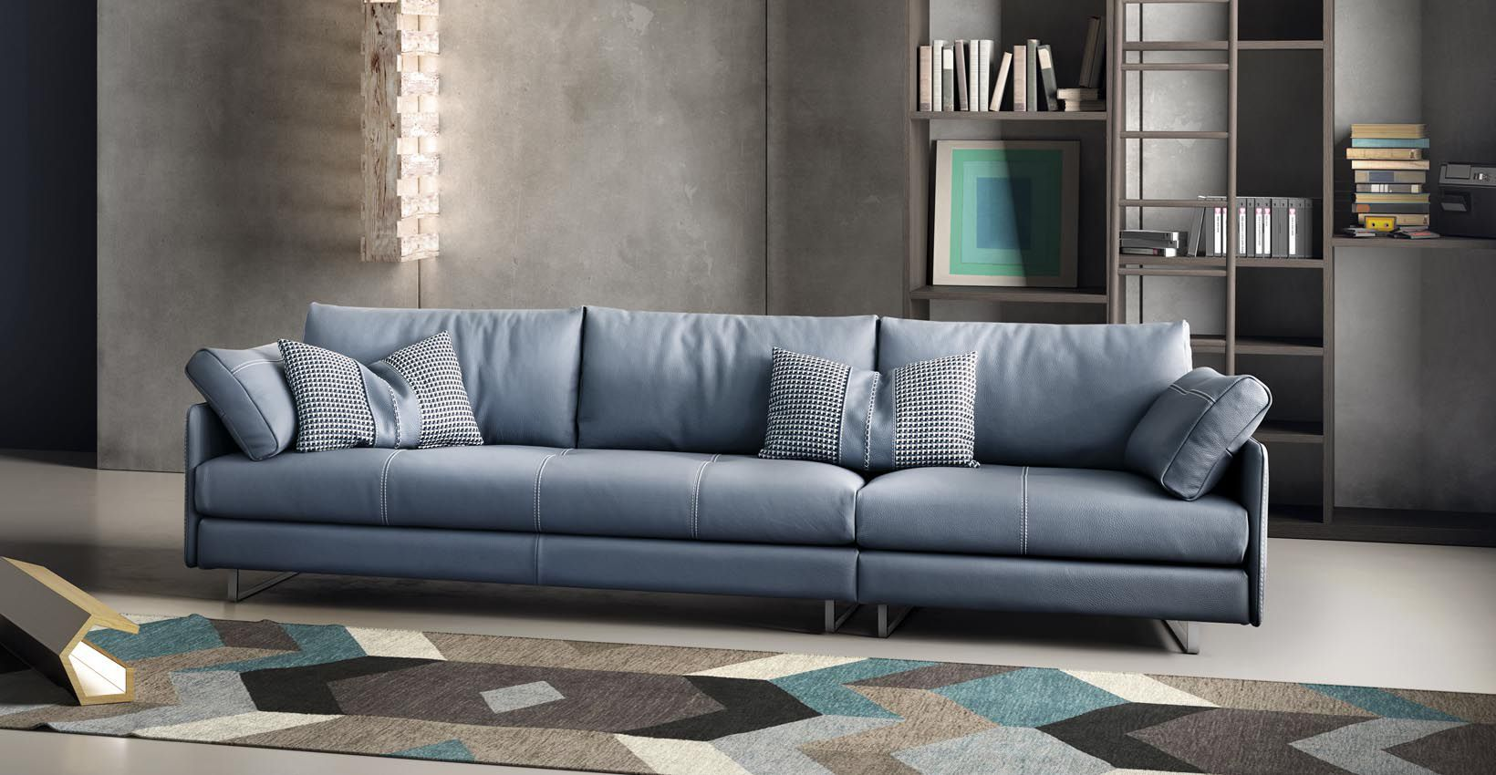 Modular Sofa Contemporary Leather 3 Seater Swing