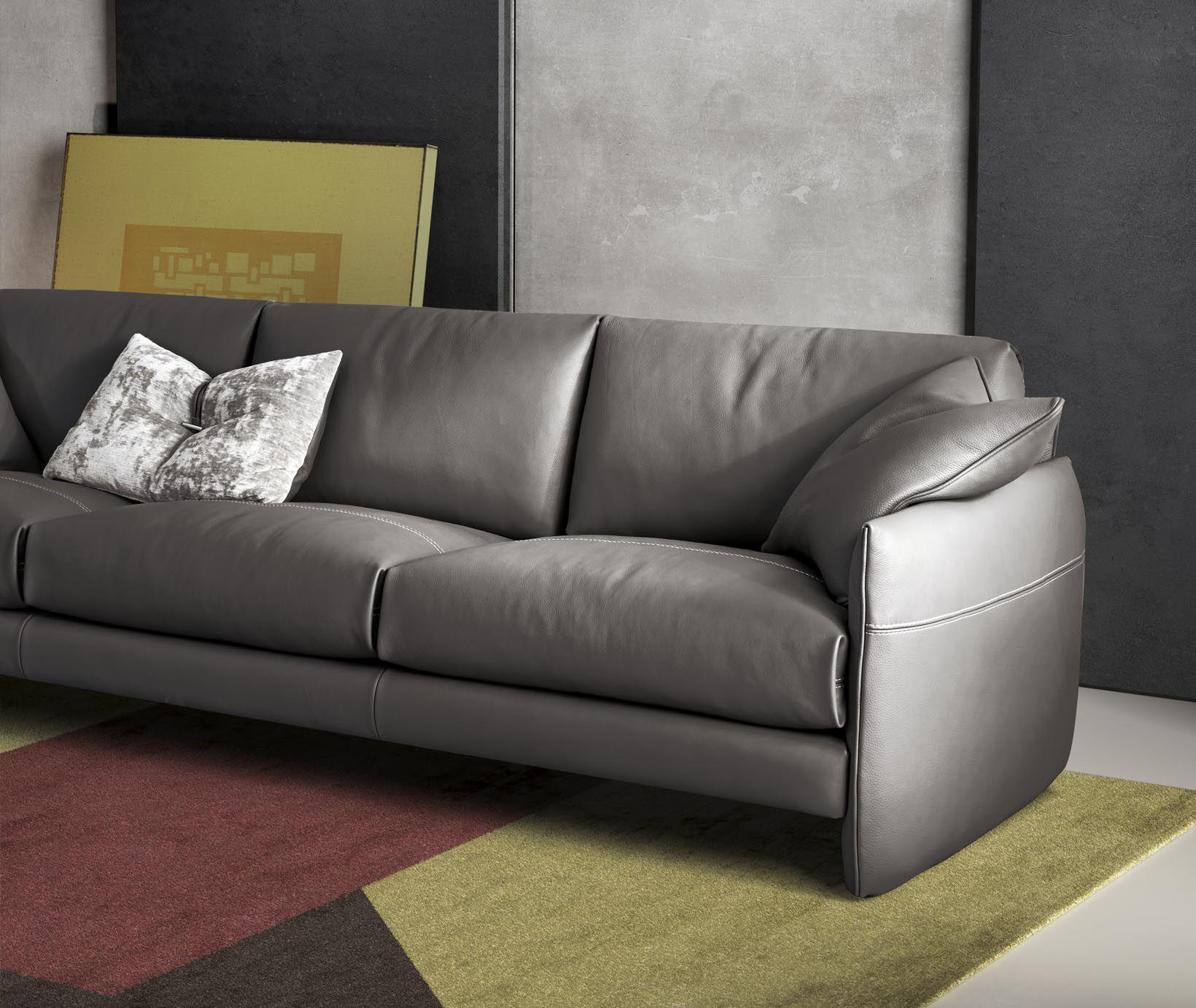 Modular sofa contemporary leather 3 seater MOOD Gamma