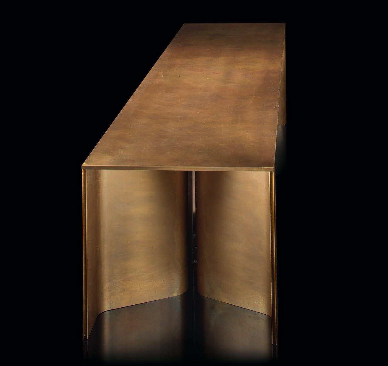 solid wood desk brass time by massimo castagna henge