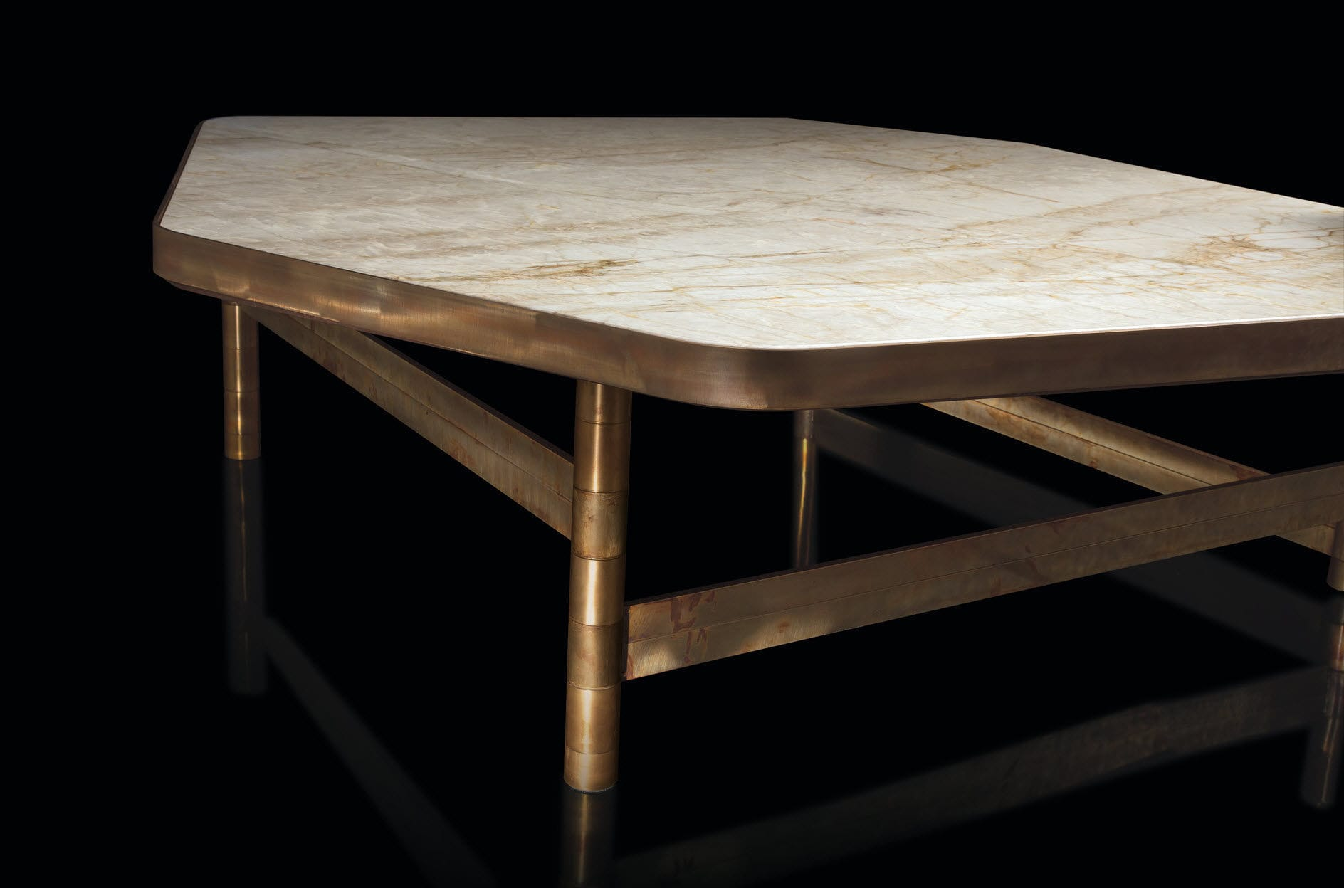 Contemporary coffee table marble granite solid wood OR by