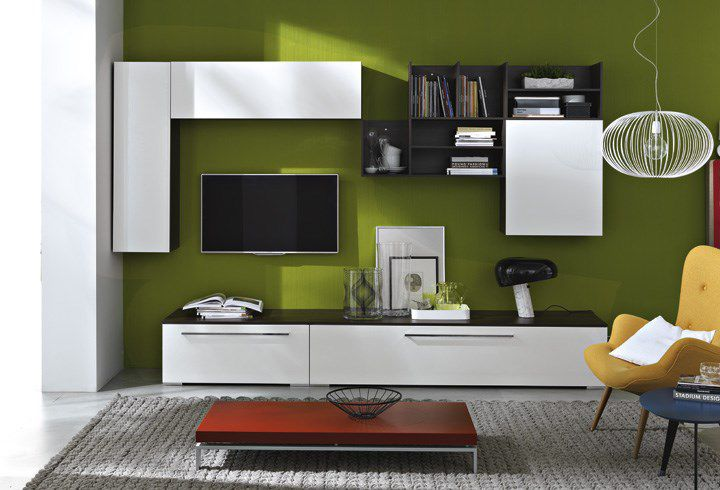 Contemporary TV wall unit / wooden / lacquered wood - LED : QVL013 ...