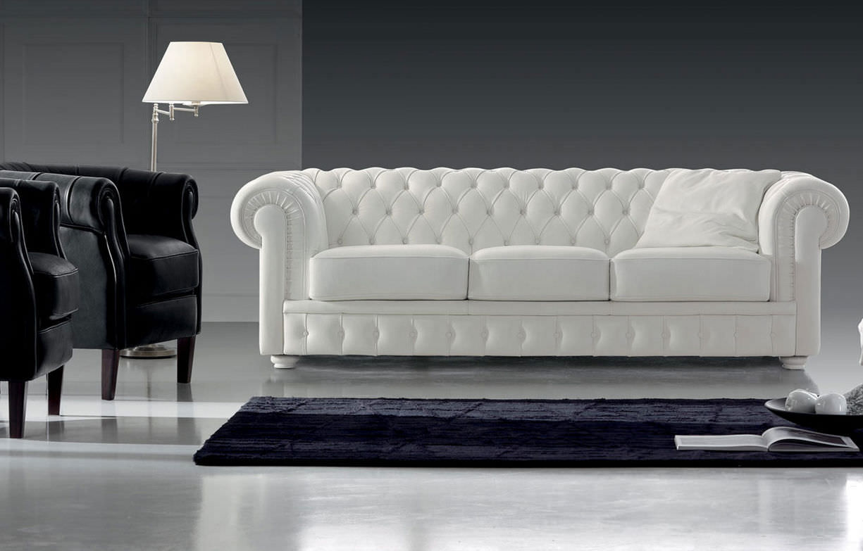 Chesterfield Sofa / Polyester / 3 Seater / White   MOZART 297