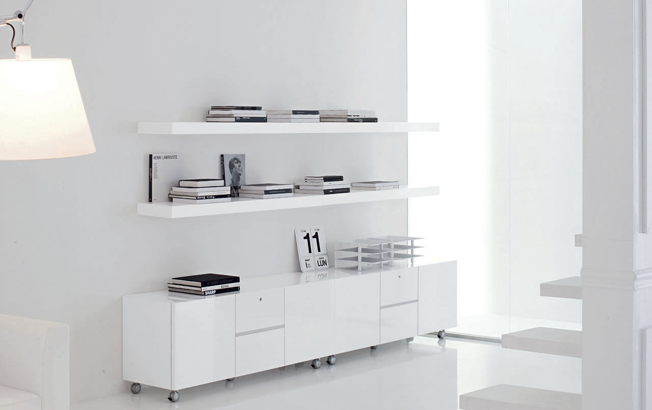 Contemporary Sideboard Wooden Lacquered Wood With Shelf