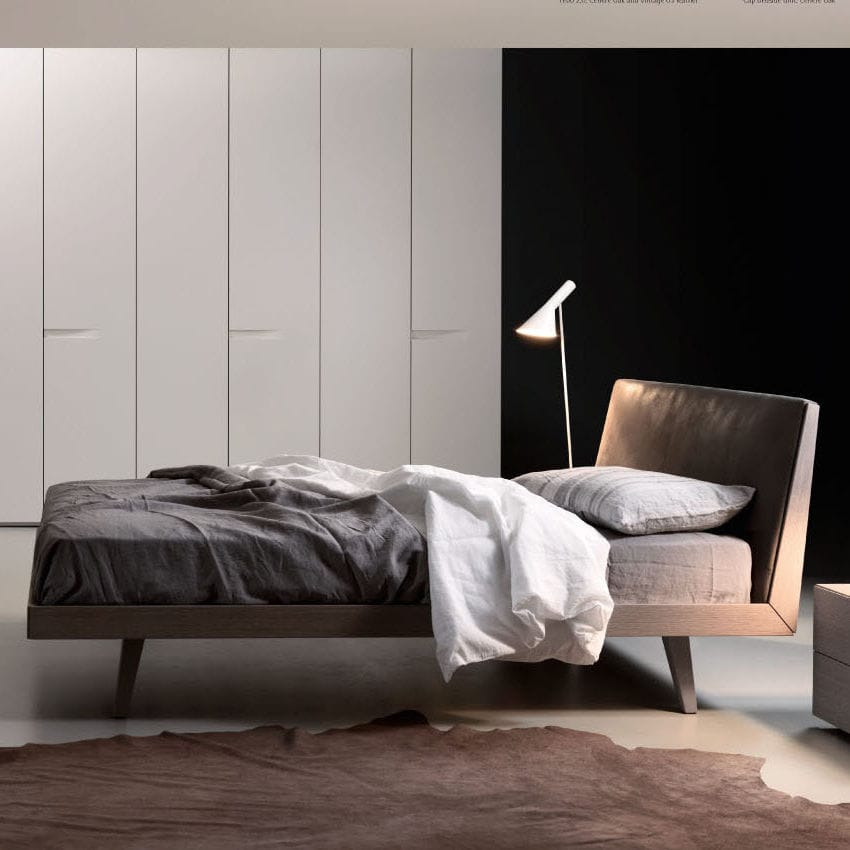 Double Bed Contemporary With Leather Headboard Oak Febo 2 0