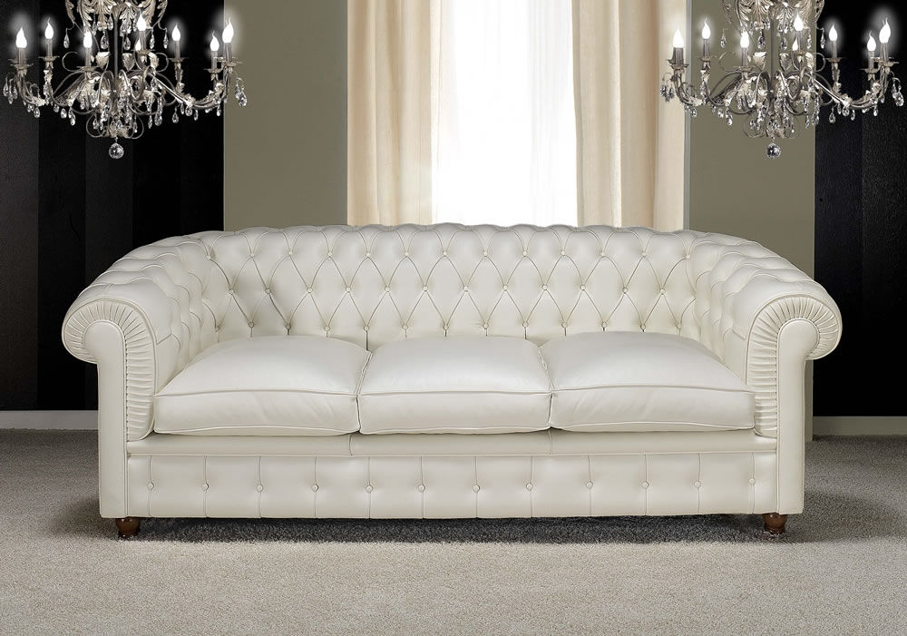 Chesterfield Sofa / Leather / 3 Seater / White   CHESTER