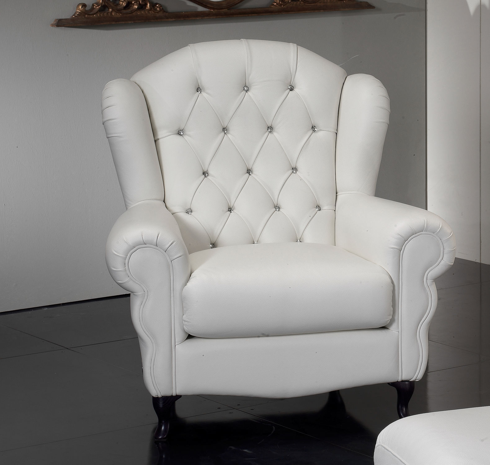 Chesterfield Armchair Fabric Leather With Footrest