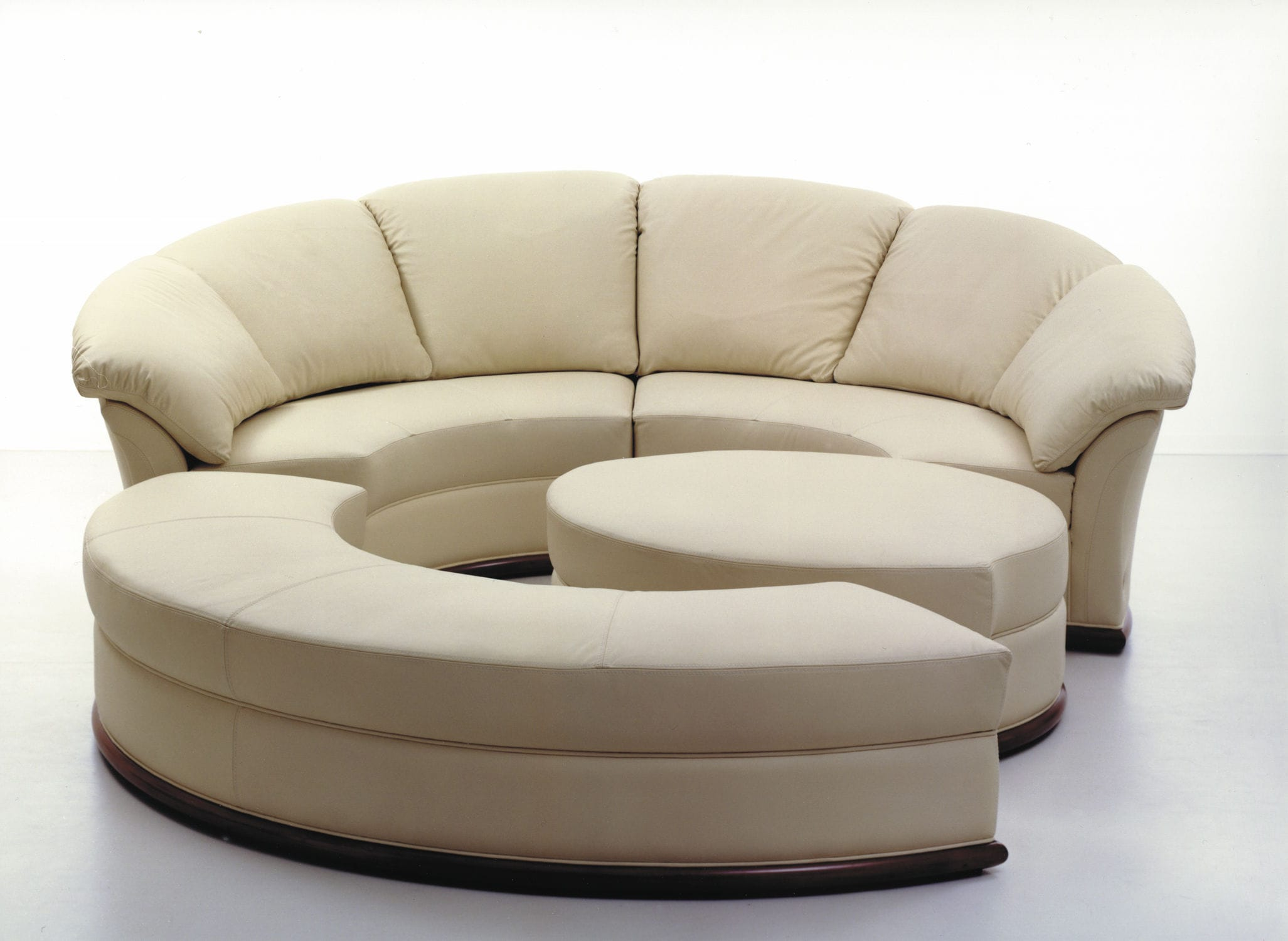 Round sofa modular contemporary leather