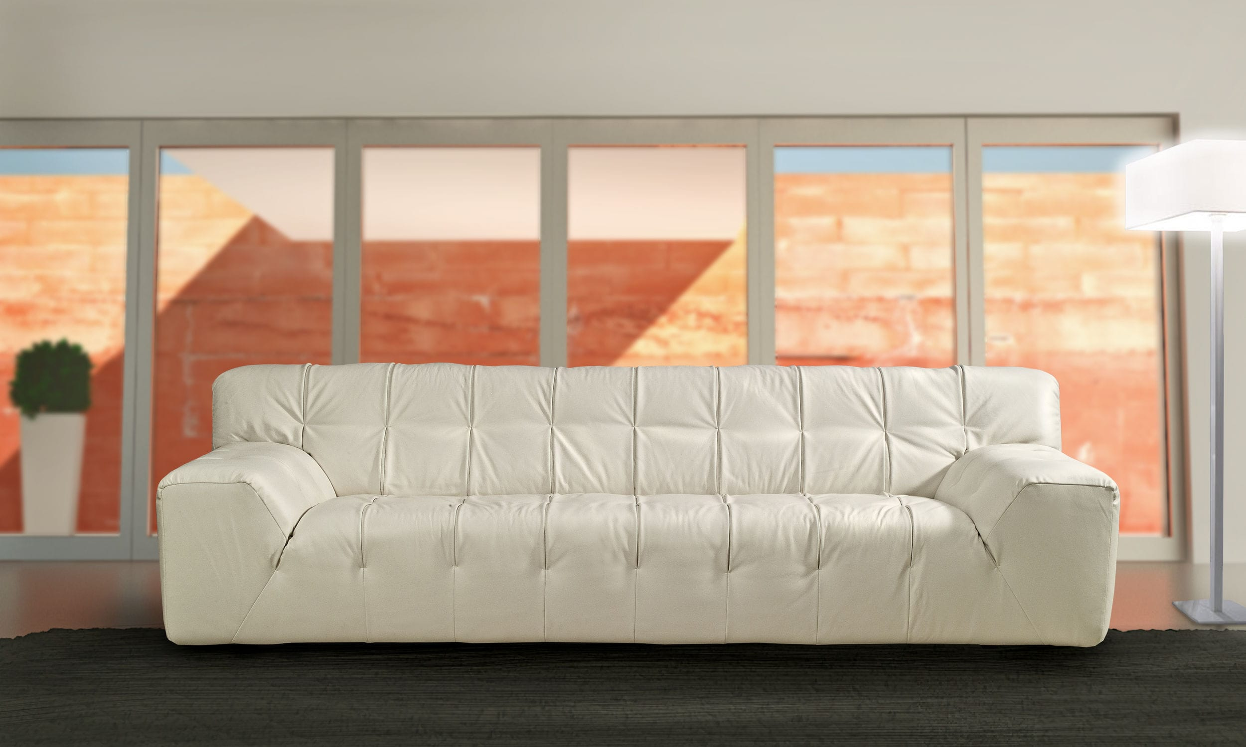Contemporary sofa leather fabric for public buildings