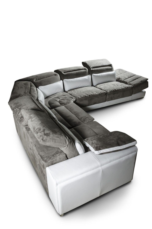 Corner Sofa Contemporary Leather Fabric