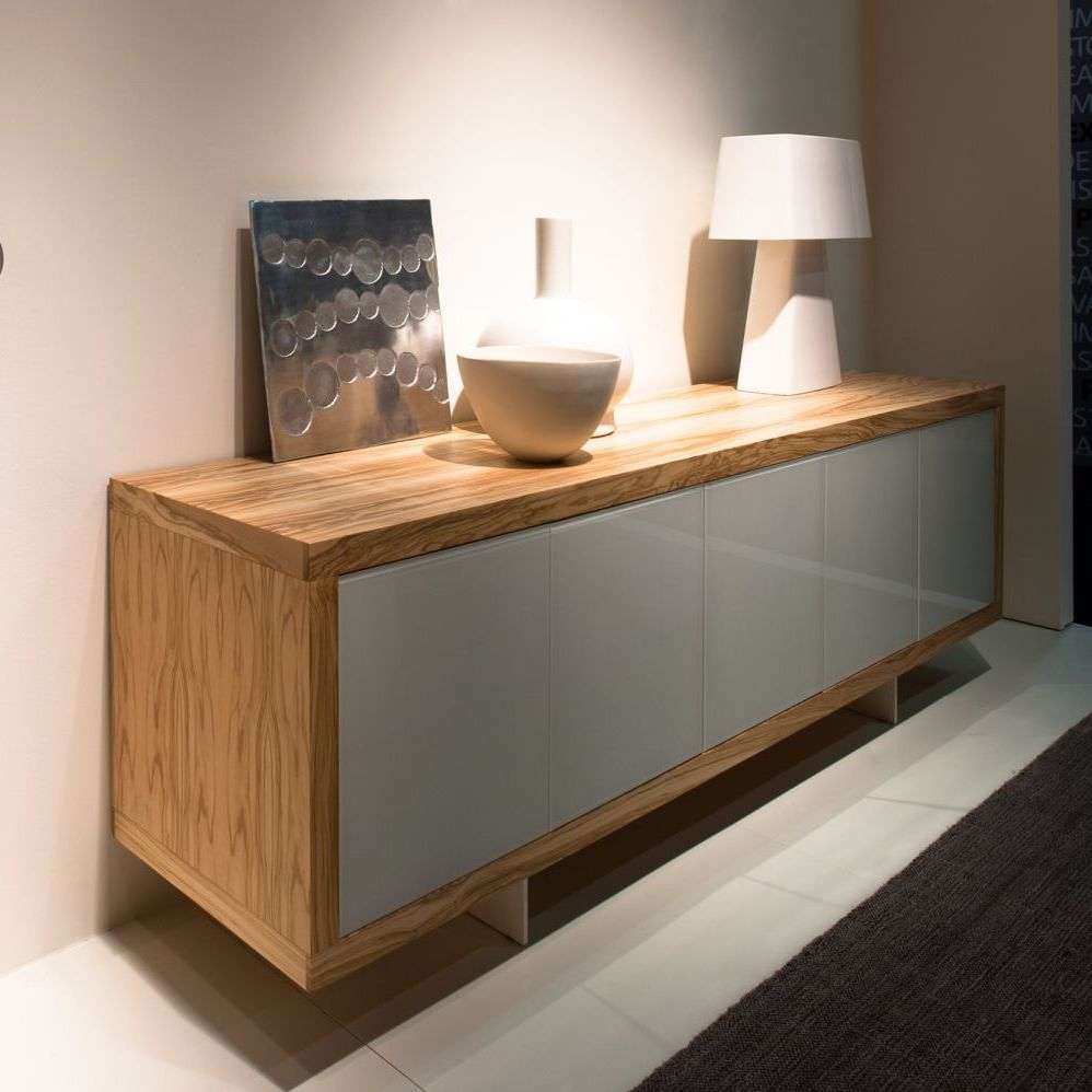 Contemporary sideboard / wooden / lacquered glass / metal ...