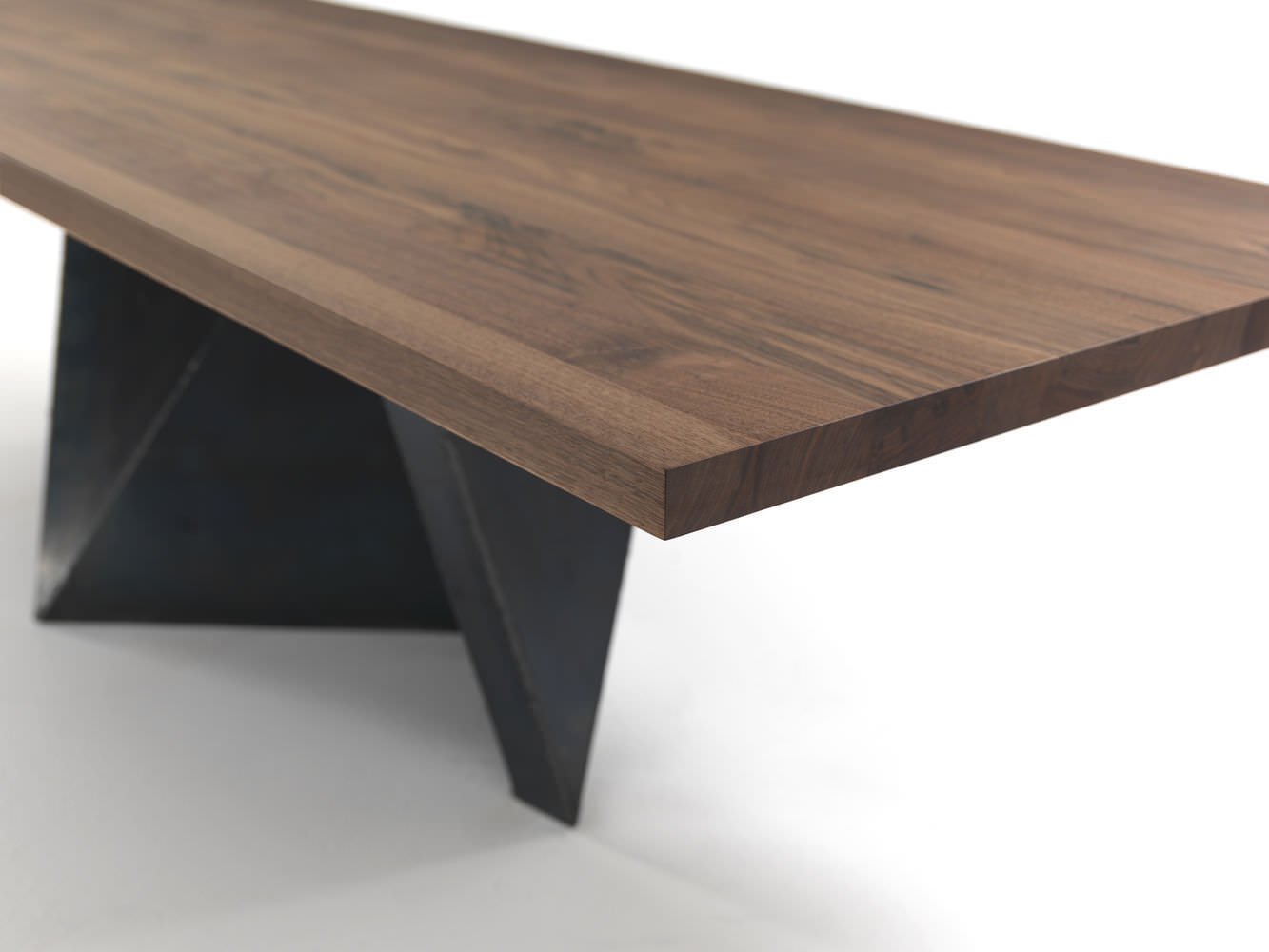 contemporary table / solid wood / wrought iron / rectangular ... - Mobili Moderni In Noce